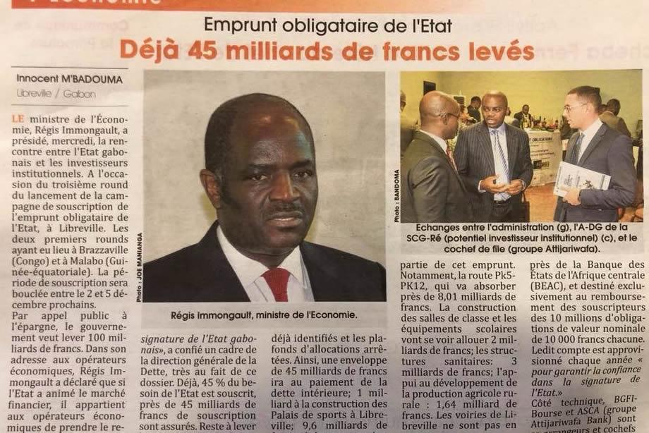 """Économie/Emprunt Obligataire Gabon: """"EOG-6,50% 2017-2022"""""""